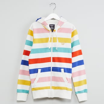MAX Colour-Blocked Striped Hooded Sweatshirt