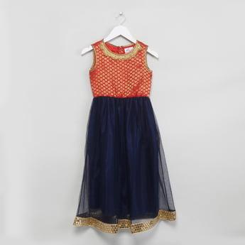 MAX Foil Print Sleeveless Maxi Dress with Dupatta