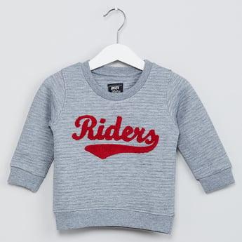 MAX Typographic Applique Ribbed Sweatshirt