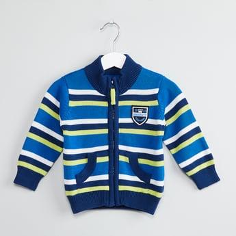 MAX Striped Zip-Front Cardigan
