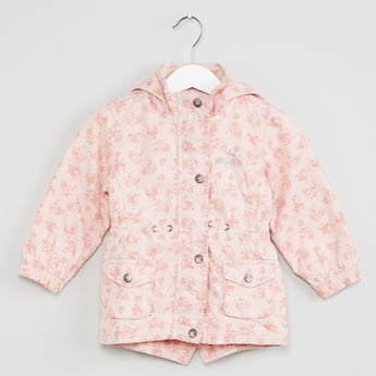 MAX Floral Print Button-Up Hooded Jacket