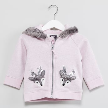 MAX Applique Detail Zip-Up Fleece Sweatshirt