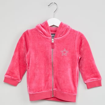 MAX Star Zip-Up Velvety Sweatshirt