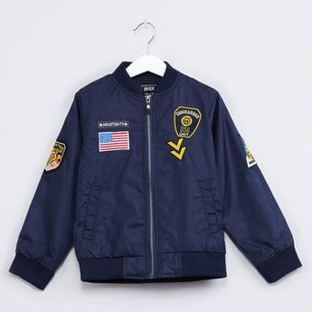 MAX Patch Applique Zip-Up Bomber Jacket