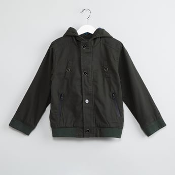 MAX Zip Pockets Solid Hooded Bomber Jacket