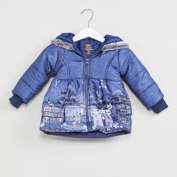 MAX Graphic Print Hooded Bomber Jacket