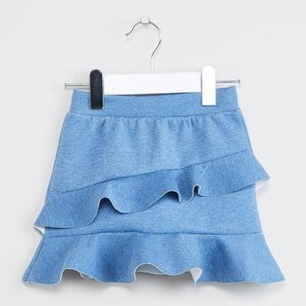 MAX Flounce Hem Solid Panlled Skirt