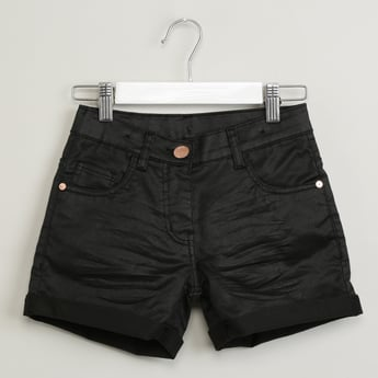 MAX Upturned Hems Shorts with Whiskers