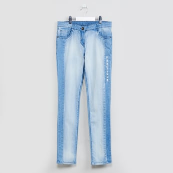 MAX Typographic Print Washed Jeans
