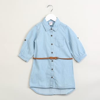 MAX Solid Denim Shirt with Braided Belt