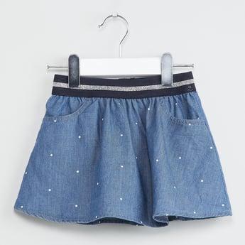 MAX Polka-Dot Print Flared Mini Skirt