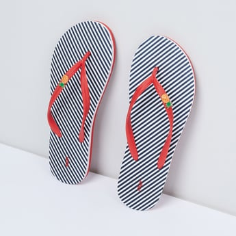 MAX Striped Slippers with Embellishment