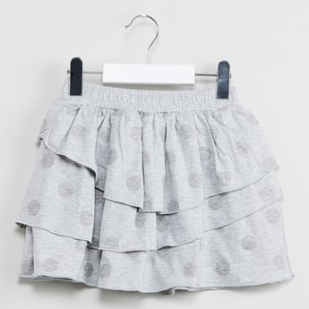 MAX Polka-Dot Print Tiered Skirt