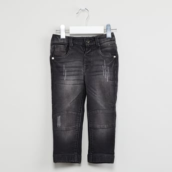 MAX Stonewashed Partially Elasticated Distressed Jeans