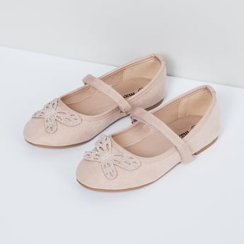 MAX Mary Janes with Embellished Butterfly Applique