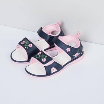 MAX Floral Embroidery Sandals with Velcro