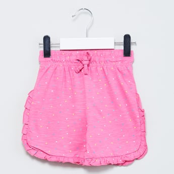 MAX Ruffled Trim Polka-Dot Print Shorts