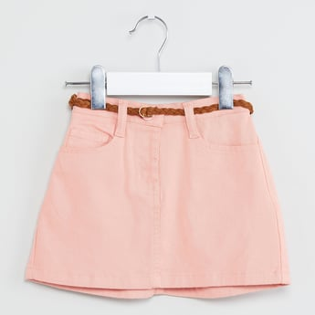 MAX Solid A-line Skirt with Braided Belt