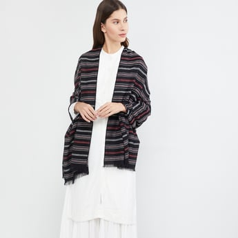 MAX Striped Scarf with Tassels