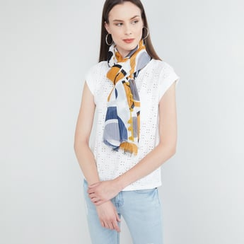 MAX Printed Scarf with Tassels