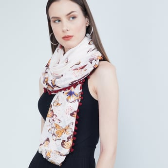 MAX Butterfly Print Scarf with Pom-Pom Border