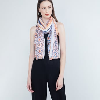 MAX Ethnic Print Scarf with Fringed Border