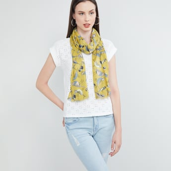 MAX Bird Print Scarf with Fringe Border