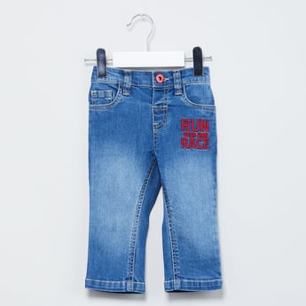 MAX Typographic Embroidery Lightly Washed Jeans
