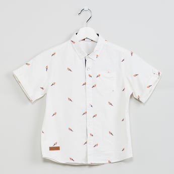 MAX Bird Print Short Sleeves Casual Shirt