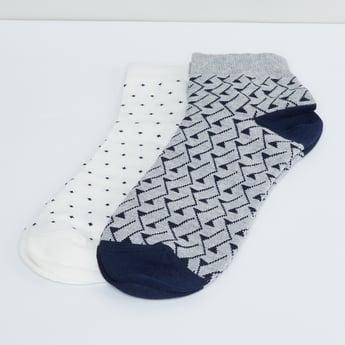 MAX Woven Design Ankle Length Socks- Pack of 2