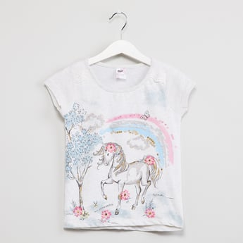 MAX Printed Sequinned T-shirt