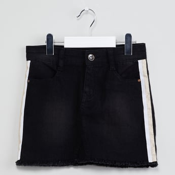 MAX Washed Denim Skirt with Frayed Hem