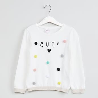 MAX Typographic Print Pom Pom Detail Sweater