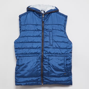 MAX Solid Sleeveless Quilted Hooded Jacket