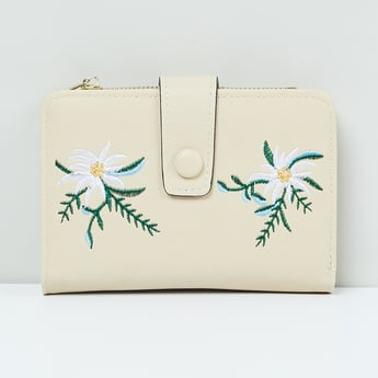 MAX Embroidered Flap Closure Wallet