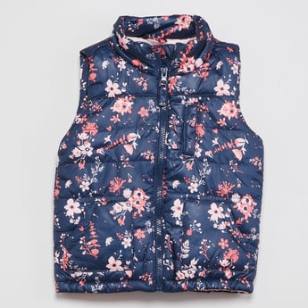 MAX Floral Print Quilted Hooded Jacket