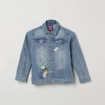 MAX Denim Jacket with Floral Embroidery