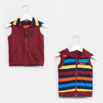 MAX Striped Sleeveless Reversible Sweatshirt