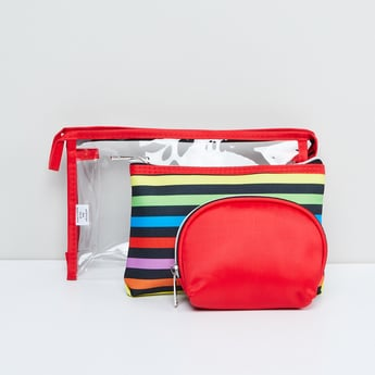 MAX Striped Transparent Pouches - Set of 3 Pcs.