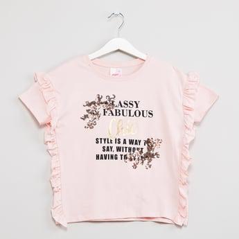 MAX Ruffled Trim Typographic Print Sequinned T-shirt