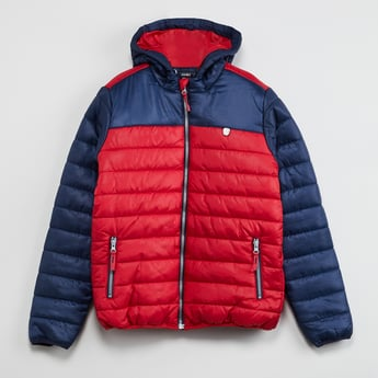 MAX Quilted Colourblock Hooded Jacket