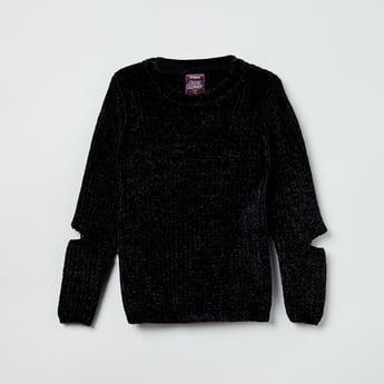 MAX Solid Cut-Out Detail Sweater
