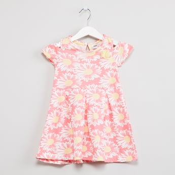 MAX Floral Print Cold-Shoulder A-line Dress