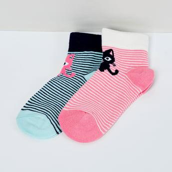 MAX Kitten Print Striped Socks - Pack of 2 Pcs.