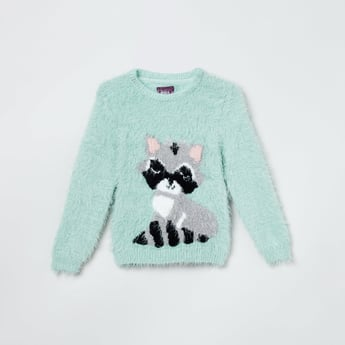 MAX Cat Patterned Faux Fur Sweater