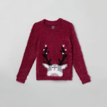 MAX Faux-Fur Textured Full Sleeves Sweater