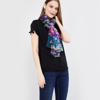 MAX Printed Scarf with Fringes