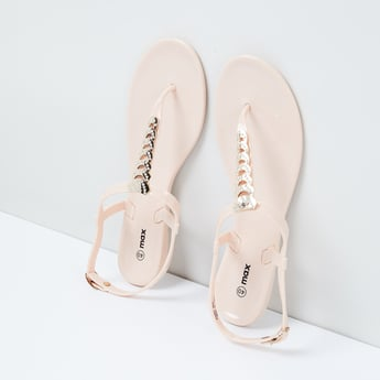 MAX Embellished T-strap Flat Sandals
