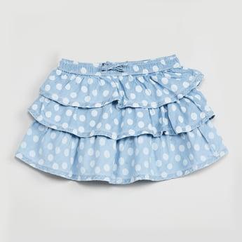 MAX Polka Dot Print Tiered Skirt