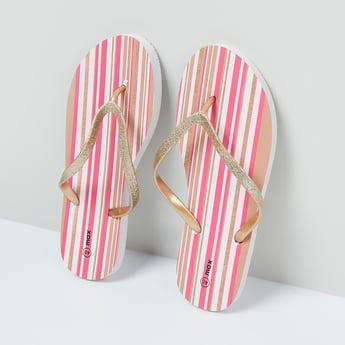 MAX Striped V-Strap Slippers